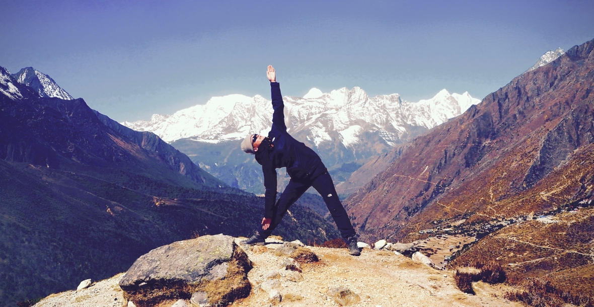 Triangle Pose Yoga Hiking